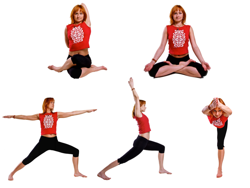 Gomukhasana - upper left, padmasana - upper right, bottom - virabhadrasana variations