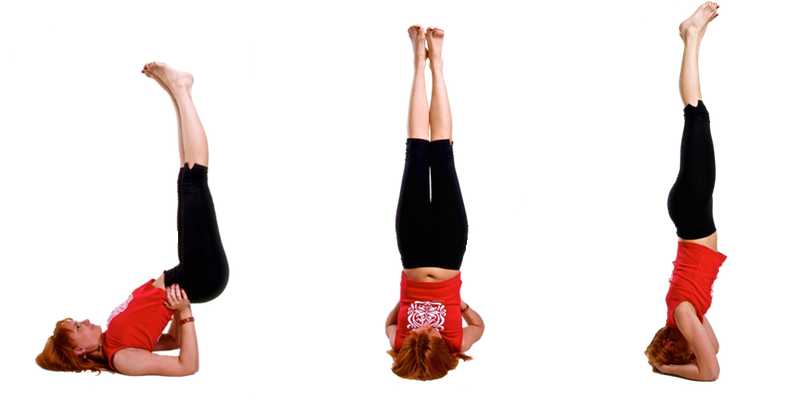 Viparita - left, sarvangasana - center, shirshsana - right